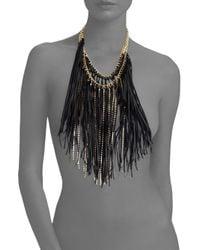 ABS By Allen Schwartz - Black Leather and Sparkle Fringe Bib Necklace - Lyst