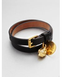Alexander McQueen | Black Leather Skull Wrap Bracelet | Lyst