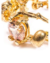 Alexander McQueen - Metallic Double Skeleton Topaz and Goldtone Ring - Lyst