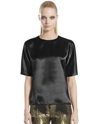 Gucci - Black Satin Shortsleeve Top - Lyst
