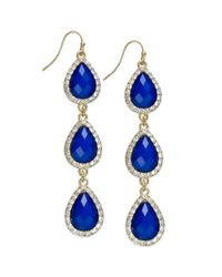 INC International Concepts | Blue Gold-tone Jet Black Teardrop Chandelier Earrings | Lyst