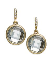 INC International Concepts | Metallic Gold-tone Round Crystal Drop Earrings | Lyst