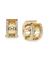 Michael Kors - Metallic Gold Tone Pave Monogram Huggie Hoop Earrings - Lyst