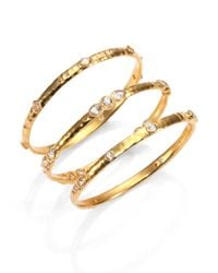 Mija | Metallic White Sapphire Hammered Bangle Bracelet | Lyst