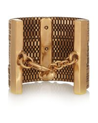 Oscar de la Renta | Metallic Gold-plated Faux Pearl and Glass Cuff | Lyst