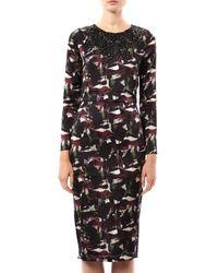 Saloni | Black Marcel Dahliaprint Dress | Lyst