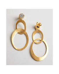 Marcia Moran - Metallic Gold and Silver Agate Druzy Linked Drop Earrings - Lyst