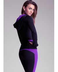Bebe - Purple Ruched Colorblock Hoodie - Lyst