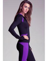 Bebe - Purple Ruched Colorblock Hoodie - Lyst