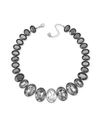 Swarovski | Gray Rhodium Plated Graduated Crystal Statement Necklace | Lyst