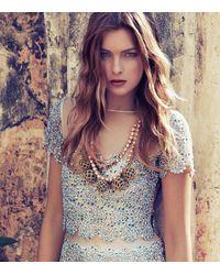 Tory Burch - Blue Crochet Bead and Raffia Crystal Necklace - Lyst