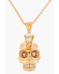 Alexander McQueen | Metallic Gold Pearl and Crystal Skull Punk Pendent Necklace | Lyst