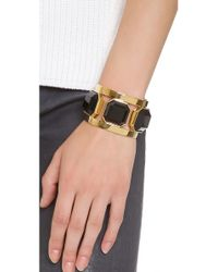 Juicy Couture - Metallic Black Triple Stone Cuff Bracelet - Lyst