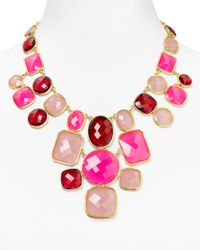 kate spade new york - Pink Microfacet Bib Necklace 18 - Lyst