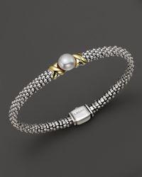 "Lagos | Metallic Sterling Silver ""luna"" Cultured Freshwater Pearl Rope Bracelet | Lyst"