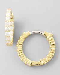 Roberto Coin - 16Mm Yellow Gold Diamond Huggie Hoop Earrings - Lyst