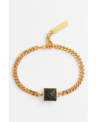 Vince Camuto | Green Leather Pyramid Bracelet | Lyst