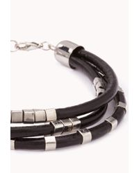 Forever 21 | Black Beaded Faux Leather Bracelet for Men | Lyst