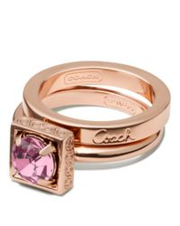 COACH | Pink Stone Stacking Ring | Lyst