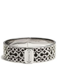 COACH | Metallic Three Quarter Inch Hinged Op Art Bangle | Lyst