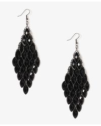 Forever 21 - Black Tiered Faceted Almond Earrings - Lyst