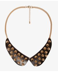 Forever 21 - Black Peter Pan Collar Spiked Bib Necklace - Lyst