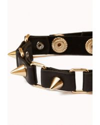 Forever 21 | Metallic Spiked Faux Leather Bracelet | Lyst