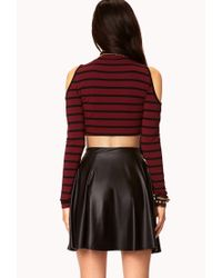 Forever 21 - Red Heroine Striped Crop Top - Lyst