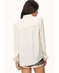Forever 21 - Natural Sleek Button Down - Lyst