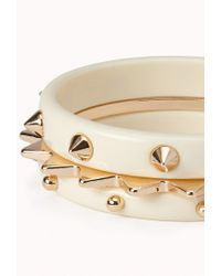 Forever 21 | Natural Spiked Enamel Bangle Set | Lyst