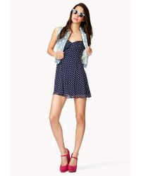 Forever 21 | Blue Polka Dot Halter Dress | Lyst