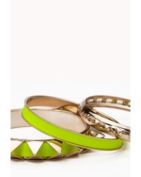 Forever 21 - Yellow Spiked Bangle Set - Lyst