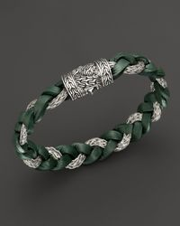 John Hardy | Green Mens Classic Chain Braided Leather Cord Bracelet for Men | Lyst