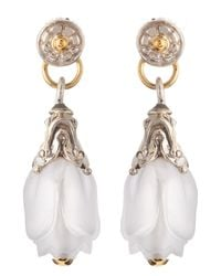 Konstantino | White Iris Rock Crystal Fluted Drop Earrings | Lyst