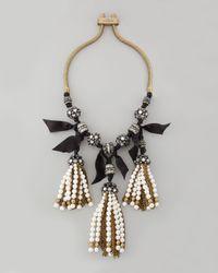 Lanvin | White 3 Pearl Tassel Neck Crystal | Lyst
