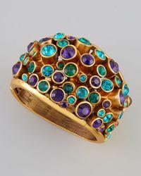 Oscar de la Renta - Blue Clustered Crystal Bracelet Mulberry - Lyst