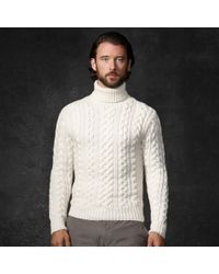 e6c6d5df1 Ralph Lauren Purple Label Cableknit Turtleneck Sweater in White for ...