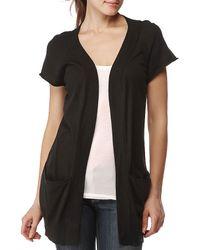 Splendid | Black Cotton Bamboo Short Sleeve Cardigan Sweater | Lyst
