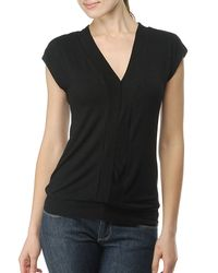 Splendid | Black Slub Jersey Sleeveless Vneck Top | Lyst
