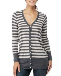 Splendid | Gray Oatmeal Stripe Ribbed V-neck Cardigan | Lyst