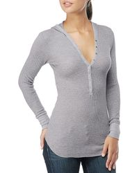 Splendid - Gray Thermal Long Sleeve Hoodie W Snaps - Lyst