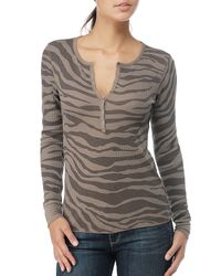 Splendid | Brown Zebra Thermal Henley | Lyst