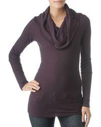 Splendid | Purple Thermal Long Sleeve Cowl Neck Top | Lyst