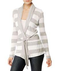 Splendid | Gray Loose Knit Rugby Stripe Belted Cardigan | Lyst