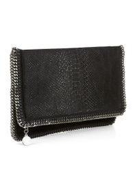 Stella McCartney | Black Velvet Python Clutch | Lyst