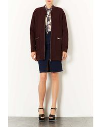 TOPSHOP - Brown Quilted Bomber Coat - Lyst