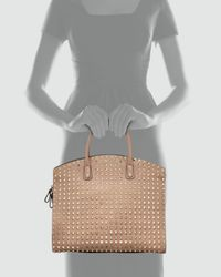 Valentino Brown Rockstud Domed Executive Tote Bag