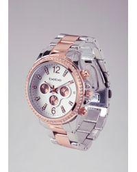 Bebe - Metallic Contrast Rhinestone Link Watch - Lyst