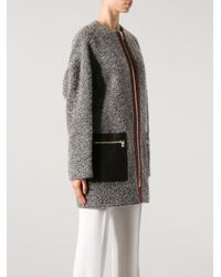Etro - Gray Coat with Leather Pockets - Lyst