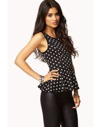 Forever 21 - Black Polka Dot Peplum Top You've Been Added To The Waitlist - Lyst